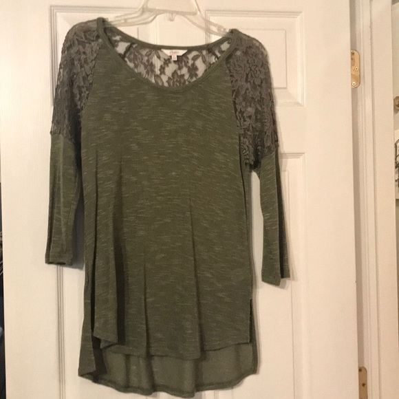 dafab819f Candie's Tops | Juniors Candies Green Lace Shirt Large | Poshmark